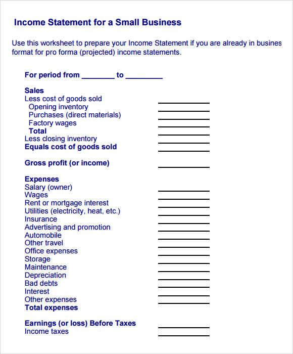 business income statement example thevillas co