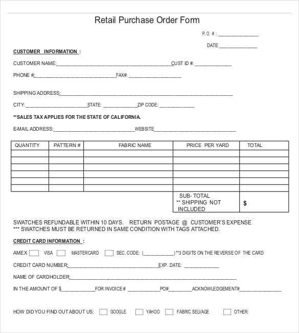 Purchase form retail purchase order form template sample for Internal work order template