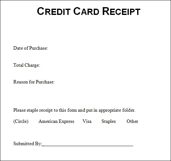 Sample Credit Card Receipt Credit Card Receipt Sample Templates