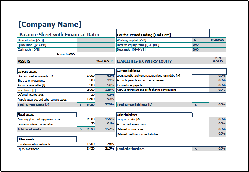 Small business balance sheet with financial ratio cheaphphosting Images
