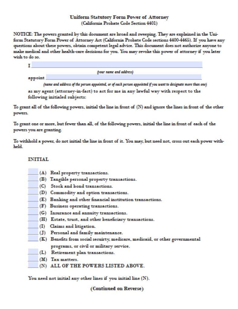 20 california poa forms print paper templates california durable financial power of attorney form falaconquin