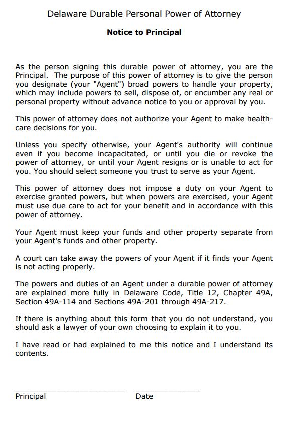 durable power of attorney template
