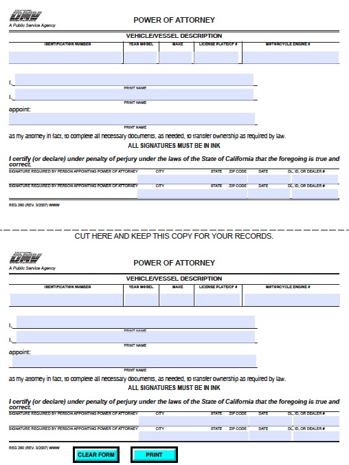 California Dmv Power Of Attorney Form California Poa Templates