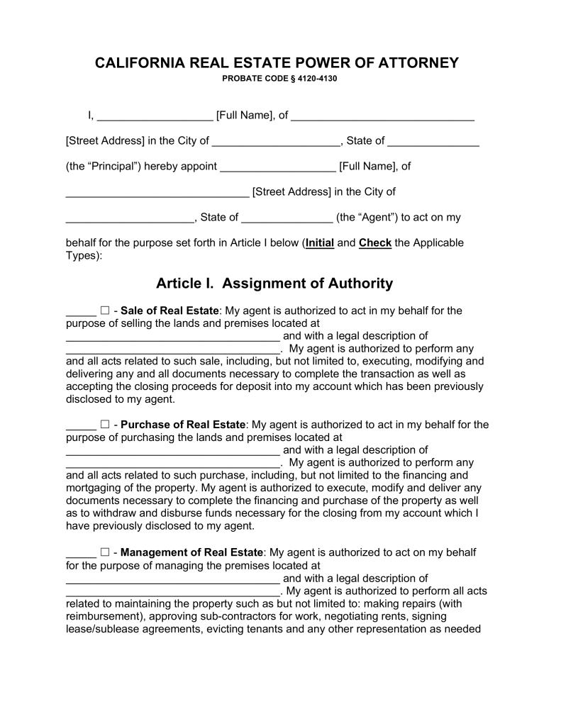 20 POA California Form Templates