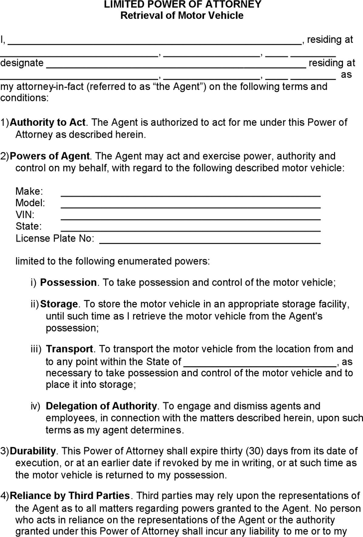 California Retrieval Of Motor Vehicle Limited Power Of Attorney Form