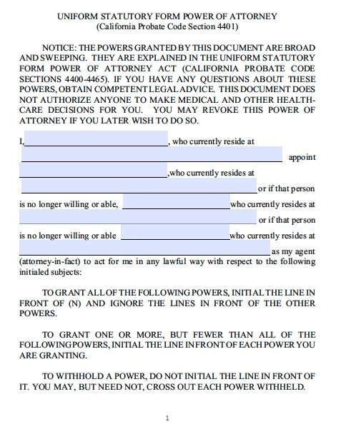 15 Power Of Attorney Forms For California | Print Paper Templates