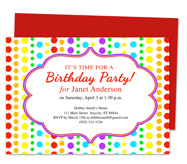 Download Microsoft Word Paper Birthday Party Invitation Templates   Free Template For Party Invitation