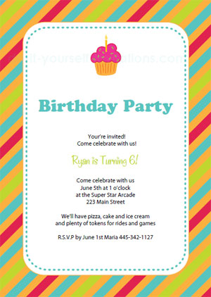 Microsoftwordpaperprintablebirthdayinvitationsstripes - Microsoft word birthday invitation templates