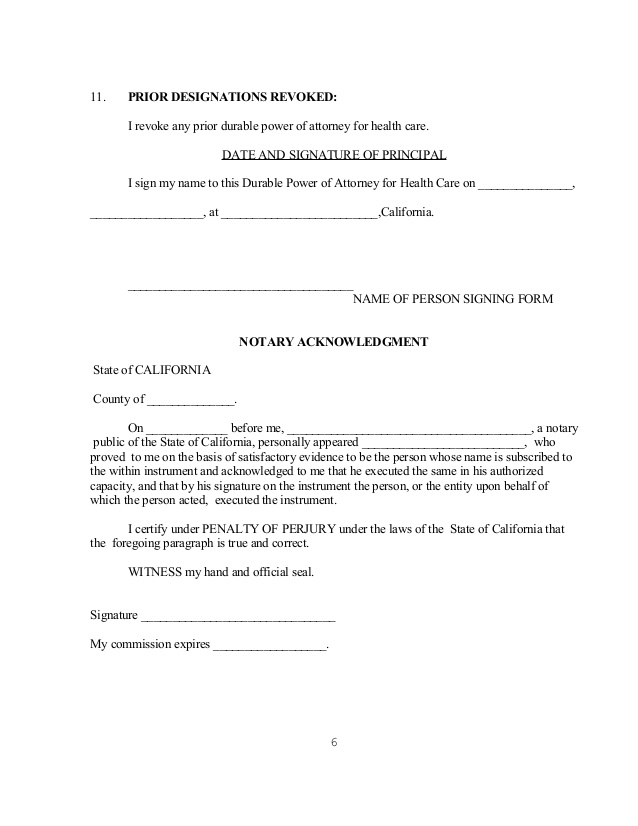 Power Of Attorney Forms For California  Print Paper Templates
