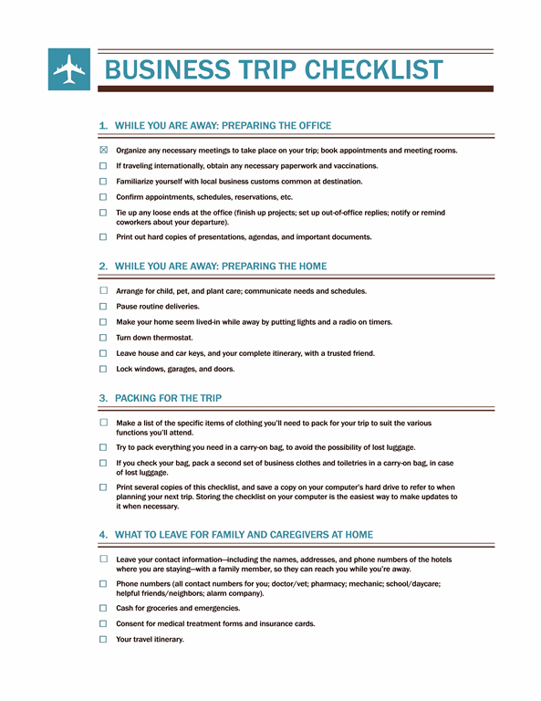 Charming Paper Pdf Business Travel Checklist