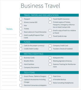 Printable business travel checklist itinerary template friedricerecipe Images