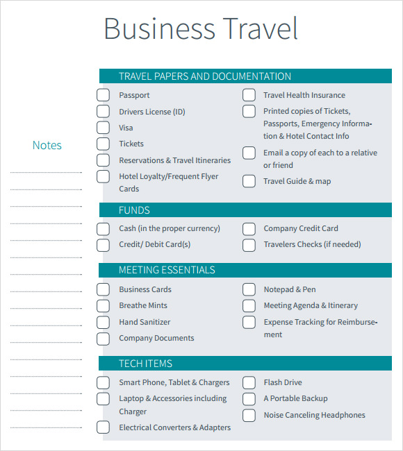 Printable Business Travel Checklist Itinerary Template