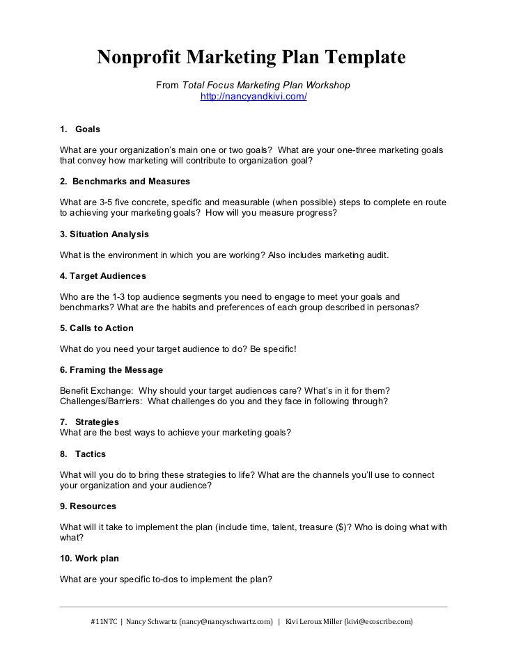 Printable Paper Business Plan Pdf Nonprofit Marketing Plan Template  Summary 1 728