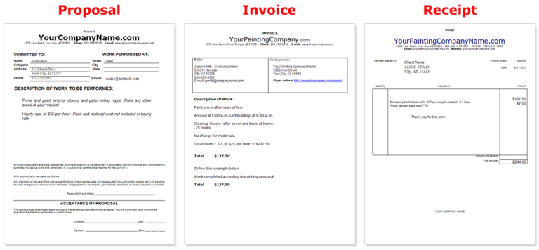 painting company business documents common business invoice template 768x356png - Business Documents