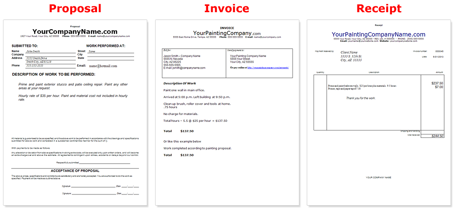 Painting Company Business Documents Common Business Invoice Template  Company Invoice Forms