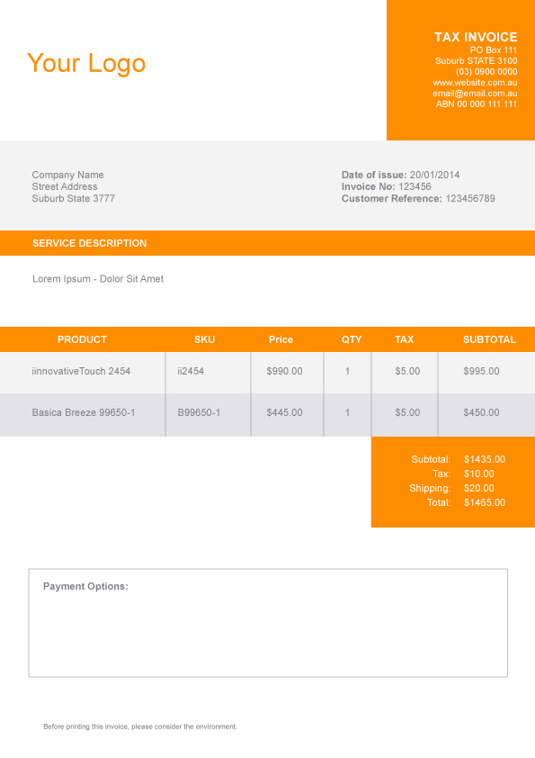 Graphic design invoice sample