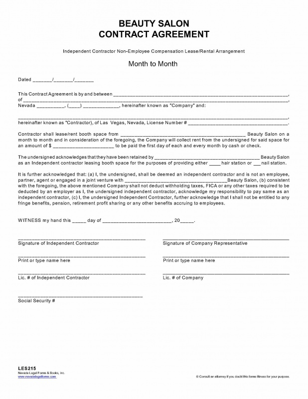 Independent Contractor Agreements  Print Paper Templates