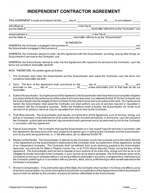 Independent Contractor Agreement Template  English
