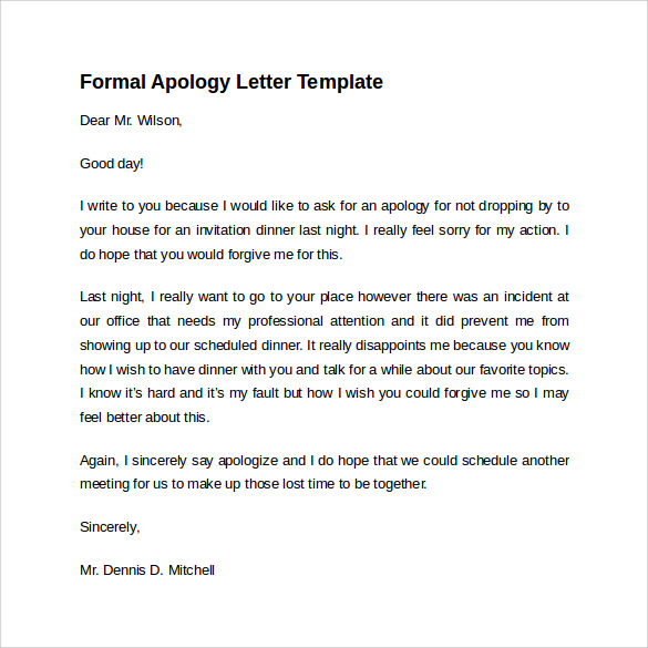 how to write a formal apology letter Parlobuenacocinaco