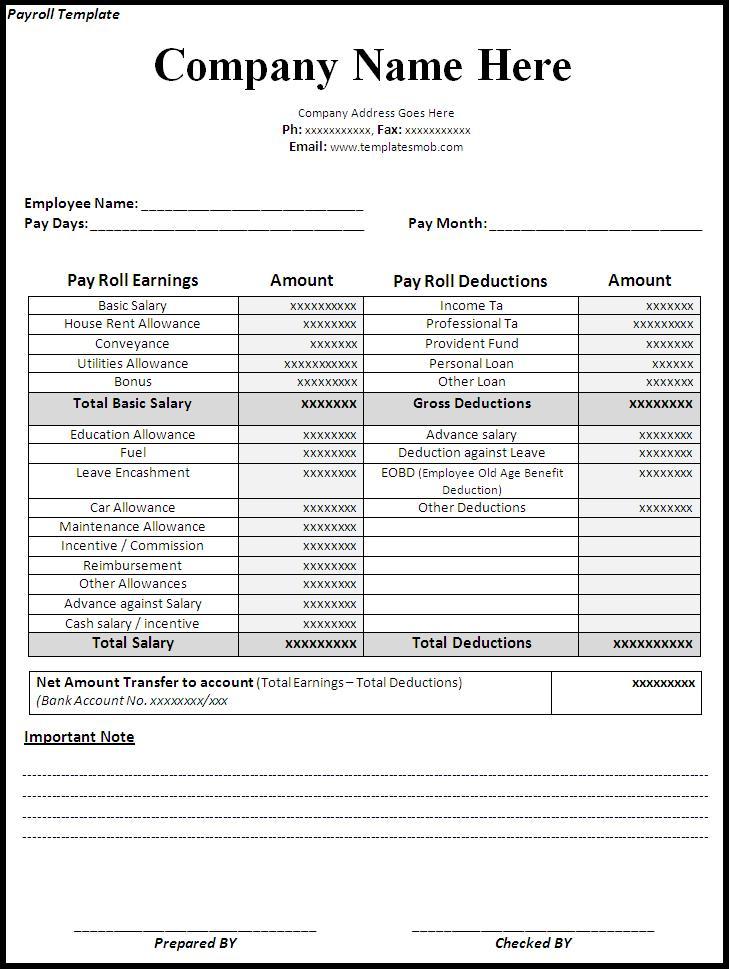 Quickbooks Payrolls Free Printable Payroll Forms