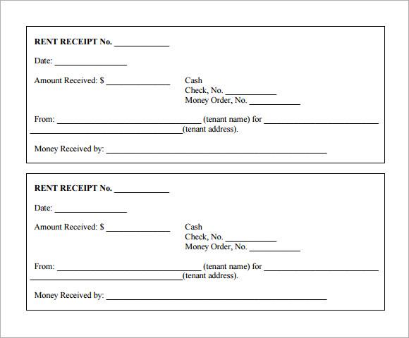 rent receipt format print paper templates