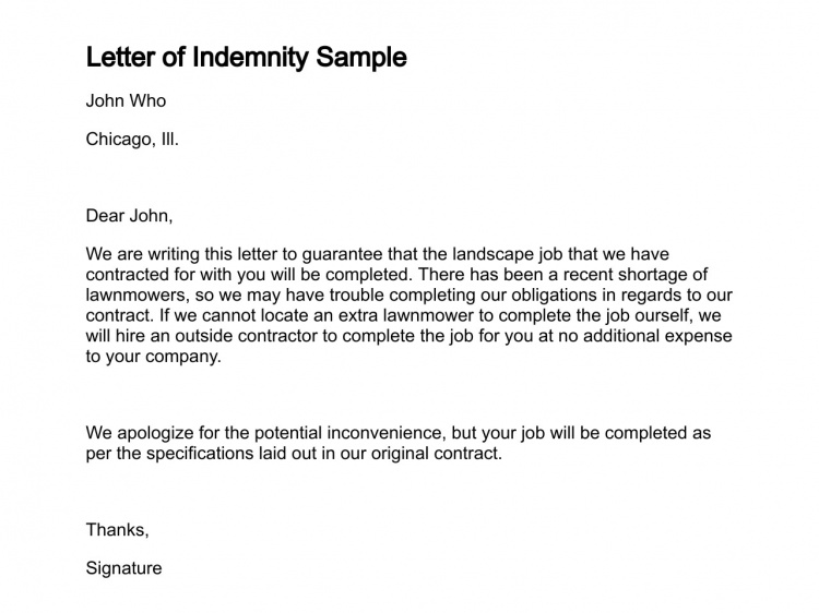 Letter Of Indemnity Template from www.printablepapertemplates.com