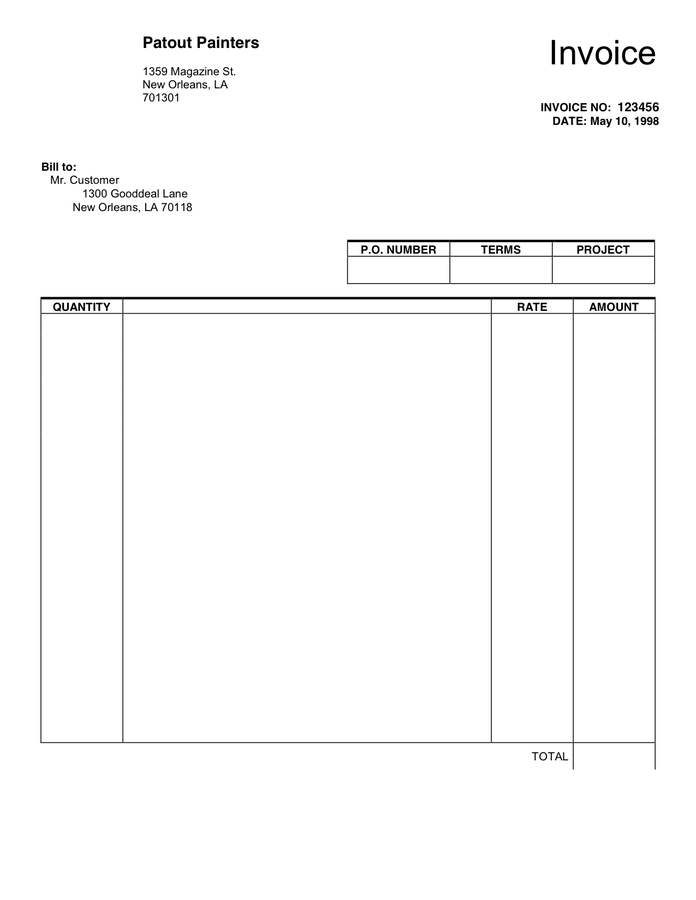 Invoice Blank Sales And Purchase Invoice Template Example For Microsoft Word And Pdf Format Template Download Pdf Doc Editable